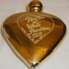 VINTAGE 40TH EVYAN WHITE SHOULDER ESSENCE GOLD HEART MINIATURE PERFUME BOTTLE