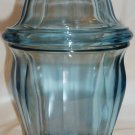 GORGEOUS INDIANA SKY BLUE VASELINE OPTICAL GLASS CANISTER APOTHECARY COOKIE JAR