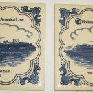 DELFT PORCELAIN TILE HOLLAND AMERICAN CRUISE LINE MS OOSTERDAM I SET OF 2
