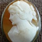 ANTIQUE CAMEO CORAL SHELL CARVED ITALY PEDANT BROCH .825 GOLD SILVER INCASED