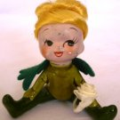 VINTAGE CERAMIC HANDPAINTED IRISH GIRL ANGEL FIGURINE C-797 FELT WINGS