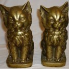 VINTAGE SOLID BRASS HEAVY CHARMING SITTING CATS BOOKENDS DOOR STOPPERS