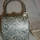 NICE ELAN HARD SHELL FAUX PYTHON SNAKESKIN SILVER WOMAN PURSE EVENING BAG