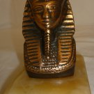 BEAUTIFUL SOLID BRONZE BUST PHARAOH KING TUTANKHAMUN FIGURINE ON ONYX PEDESTAL
