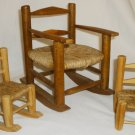 DOLLHOUSE WICKER FURNITURE SET OF 3 STRAIGHT BACK & ROCKING CHAIRS