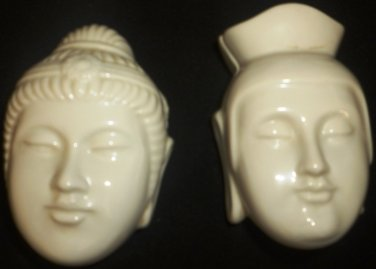 UNIQUE WHITE PORCELAIN TRINKET BOX SET OF 2 BUDDHISM BUDHA TRINKET BOX
