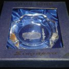 BEAUTIFUL BLOCK CRYSTAL ETCHED DRAGON SINGAPORE ASHTRAY NMB