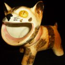 VINTAGE CHARMING HANDPAINTED CERAMIC PORCELAIN STRIPE CAT PLANTER JAPAN
