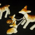 CHARMING PORCELAIN MINIATURE FIGURINE FAMILY OF DEER FAWN 5 PCS JAPAN