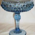 VINTAGE FENTON BLUE TURQUOISE GLASS DIAMOND POINT PEDESTAL CANDY DISH COMPOTE
