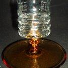VINTAGE BEAUTIFUL CLEAR & PEACH GLASS CANDLEHOLDER TOOTHPICK HOLDER DESSERT BOWL