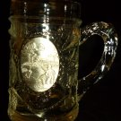CLEAR GLASS EMBOSSED GRAPEVINE DESIGN WITH PEWTER FISHERMAN EMBLEM MUG STEIN