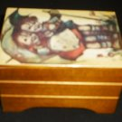 VINTAGE WOODEN MUSIC BOX GOEBEL KIDS WITH UMBRELLA STORMY WEATHER