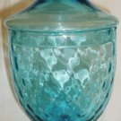 GORGEOUS VINTAGE COLONIAL BLUE OPTICAL GLASS LIDDED PEDESTAL APOTHECARY JAR