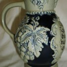 VINTAGE ZB CLAY POTTERY EARTHWARE WINE PITCHER HANDMADE FRANCE 0.5L GRAPES