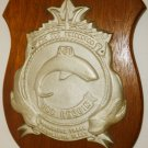 USS REQUIN (SS/SSR/AGSS/IXSS-481) A TENCH-CLASS SUBMARINE CAST IRON PLAQUE WOOD