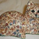 CHARMING PORCELAIN FLORAL PATCHWORK DESIGN CAT FIGURINE