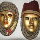 VENETIAN ITALIAN STYLE GOLD HIS & HER CARNIVAL MASK HANGING WALL DECOR NM SET 2
