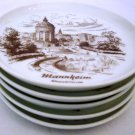 VINTAGE AK KAISER PORCELAIN COASTERS SMALL PLATES IMAGES MANNHEIM GERMANY SET 5