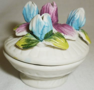 VICTORIAN TRADING COMPANY VTC MINIATURE FLORAL TULIP TRINKET BOX