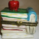 CHARMING PORCELAIN HINGED TRINKET BOX FIGURAL STACK OF BOOKS