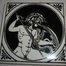 VINTAGE PORCELAIN CERAMIC TILE ART GREEK GOD BY PHILKERAM JOHNSON