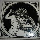 VINTAGE PORCELAIN CERAMIC TILE ART GREEK GOD BY PHILKERAM JOHNSON