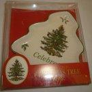 SPODE PORCELAIN CHRISTMAS TREE HANDPAINTED CELEBRATE CHRISTMAS TREE SET OF 2