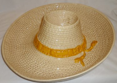 1986 CERAMIC SOMBRERO PARTY CHIPS & DIP WHITTER POTTERY