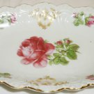 ANTIQUE FINE PORCELAIN SCALLOPED DISH WITH HANDLES HANDPAINTED ROSES GERMANY