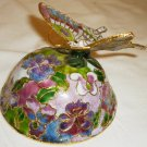 UNIQUE METAL ENAMEL CLOISONE BUTTERFLY MUSIC BOX