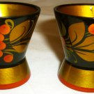 VINTAGE HANDPAINTED HANDCARVED WOODEN EGG CUP RUSSIA KHOHLOMA HOHLOMA DESIGN /2
