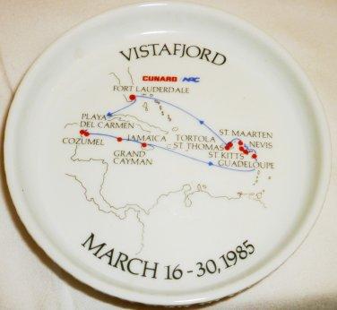 1985 CUNARD SAGAFJORD VISTAFJORD CRUISE ROSENTHAL PORCEAIN COASTER COIN DISH
