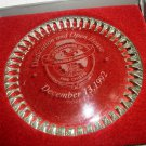 COMMEMORATIVE '92 INTERNATIONAL FIRE CHIEFS OPEN HOUSE ETCHED GLASS PAPER WEIGHT