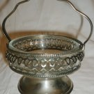 VINTAGE FELIGREE SILVERPLATED WITH GLASS LINER OPEN SUGAR BOWL ENGLAND