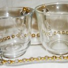 VINTAGE IMPERIAL GLASS OHIO CANDLEWICK GOLD BEADS CREAMER, SUGAR BOWL & TRAY SET