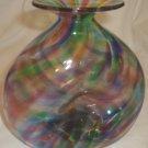BEAUTIFUL UNIQUE RAINBOW ART GLASS VASE SIGNED PHILLIP '01
