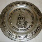 US BICENTENNIAL GEORGE WASHINGTONCOAT OF ARMS PEWTER PLATE YORK METAL CRAFTERS