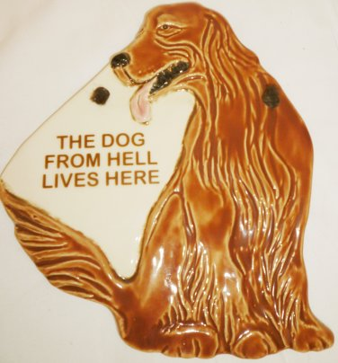 HUMOROUS CERAMIC PLAGUE GOLDEN RETRIEVER Dog From Hel SMOCKY MOUNTAIN POTTERY