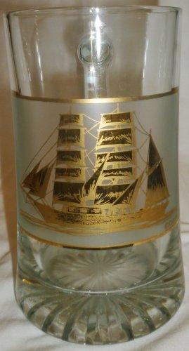 GORGEOUS CULVER GLASS BEER STEIN WITH GOLD SAILBOAT BRIGANTINE