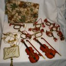 CHRISTMAS ORNAMENTS MUSICAL INSTRUMENTS VIOLINS HORNS TRUMPHETS ANGELS + FABRIC+