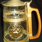 VINTAGE GLASS LIDDED BEER STEIN TANKARD PITCHER WOODEN HANDLE GOLD EAGLE