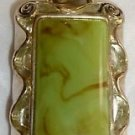 GORGEOUS RECTANGLE SILVERPLATED PENDANT GREEN TANZONITE