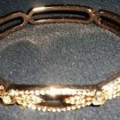 FASHION JEWELRY GOLD HEAVY MMETAL BRACELET ETCHED & STONES MAGNET CLASP