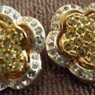 VINTAGE GOLD & SILVER COLORED INCASED RHINESTONE CLIP EARRINGS TWO IN ONE