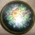 GORGEOUS VINTAGE HANDPAINTED SIGNED RUSSIA PALEH MINIATURE PEONIES BROOCH PIN