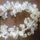DESIGNER CLEAR CRYSTAL BEADED BRACELET WITH SILVER FLOWER CLASP