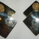BEAUTIFUL FESTIVE SILVER & GOLD TWO COLOR SQUARE ON A SQUARE BUBBLE EARRINGS