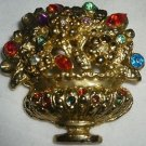 VINTAGE MULTI COLOR RHINESTONE FLOWERS IN BASKET PIN BROOCH GOLD CASED