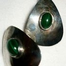 BEAUTIFUL MALACHITE EILAT JEMSTONE & STERLING SILVER DANGLING OVAL EARRINGS